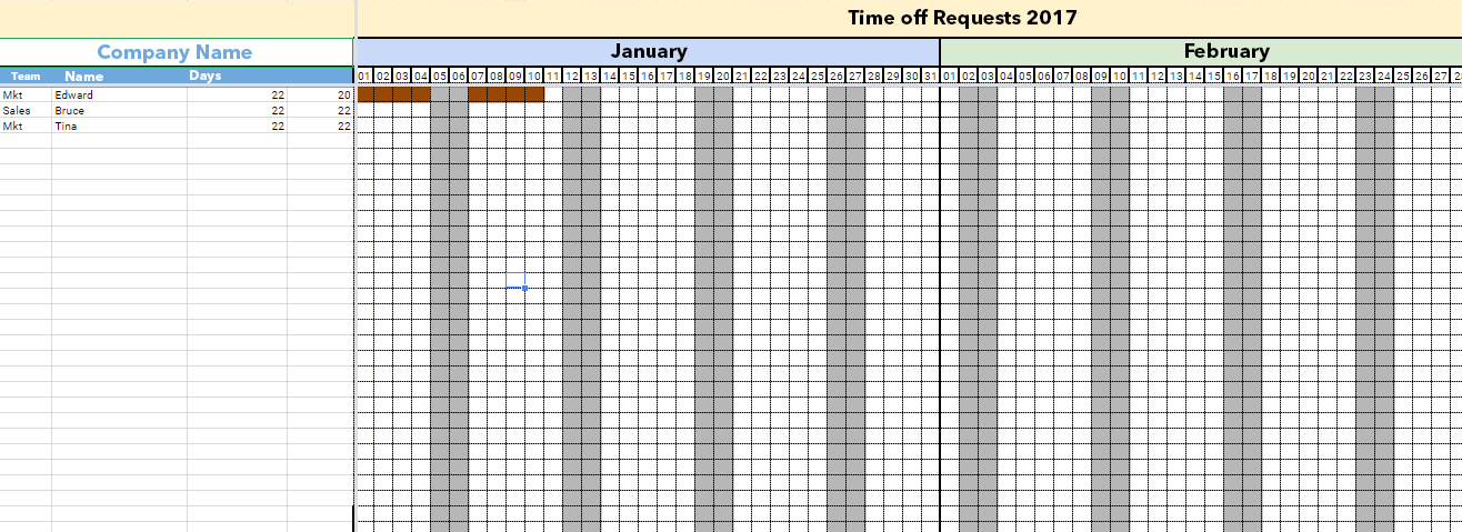 Managing Holidays And Time Off Requests With Excel Template - Time off schedule template