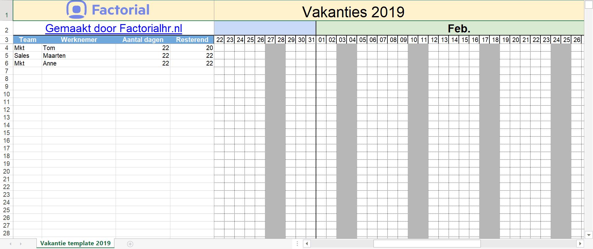 Template vakantieaanvragen Excel