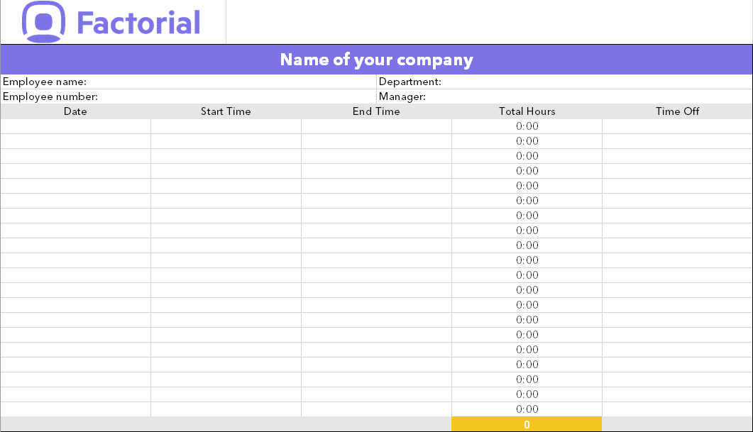 time and attendance free Excel template Factorial HR